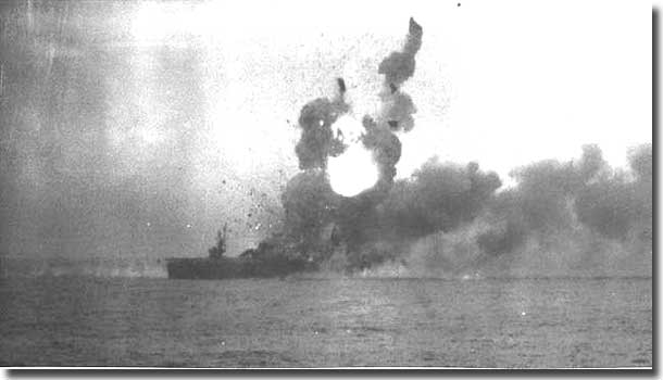 Carrier USS St Lo exploding after being hit by a Japanese Kamikaze