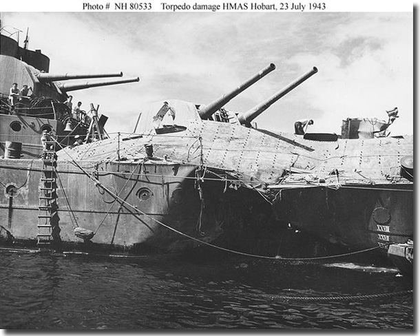 Damage to HMAS Hobart after being hit by a torpedo fired by Japanese submarine I-11 in 1943.