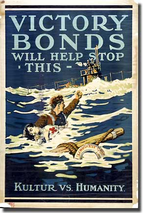 After the Hospital ship Landovery Castle was sunk by U-86, on the 27th. of June 1018, and 146 died, this poster in 1918 used the tragedy to sell War Bonds
