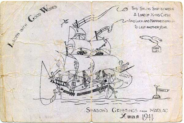 Hand drawn Xmas card sent from Marlag und Milag Nord 1941