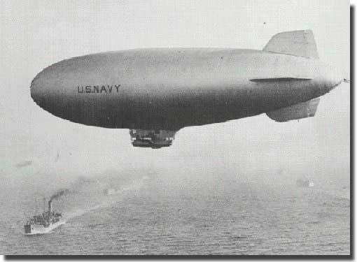 A US Navy K type blimp, as used in the action against U-853 in May 1945.