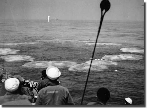 A pattern of projectiles fired by the ahead throwing weapon Hedgehog from USS Atherton, in her successful attack against German U-Boat U-853.