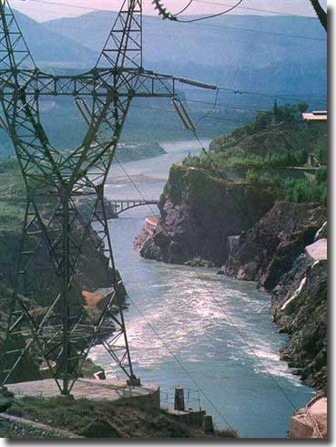 Hydro power works in Liujiaxia Gorge to suppy power to the city of Lanzhou