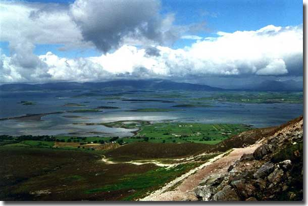 Clew Bay with its many islands from the top of Croagh Patrick