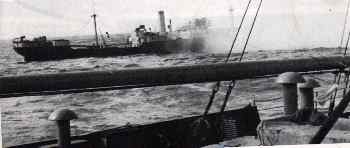 The Bristish steamer Balzac under attack by the Atlantis June 22nd, 1942.