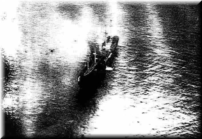 "German Supply ship ""Coburg"" set on fire by gunfire from H.M.A.S. ""Canberra"" and subsequently scuttled. 4th. of March , 1941"