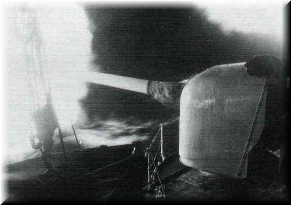 Night firing of a six inch gun